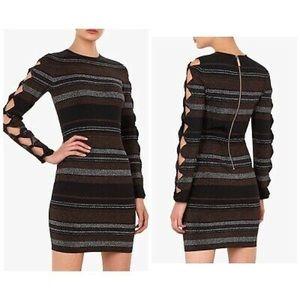 NWT Ted Baker Lurex stripe bow detail knit dress